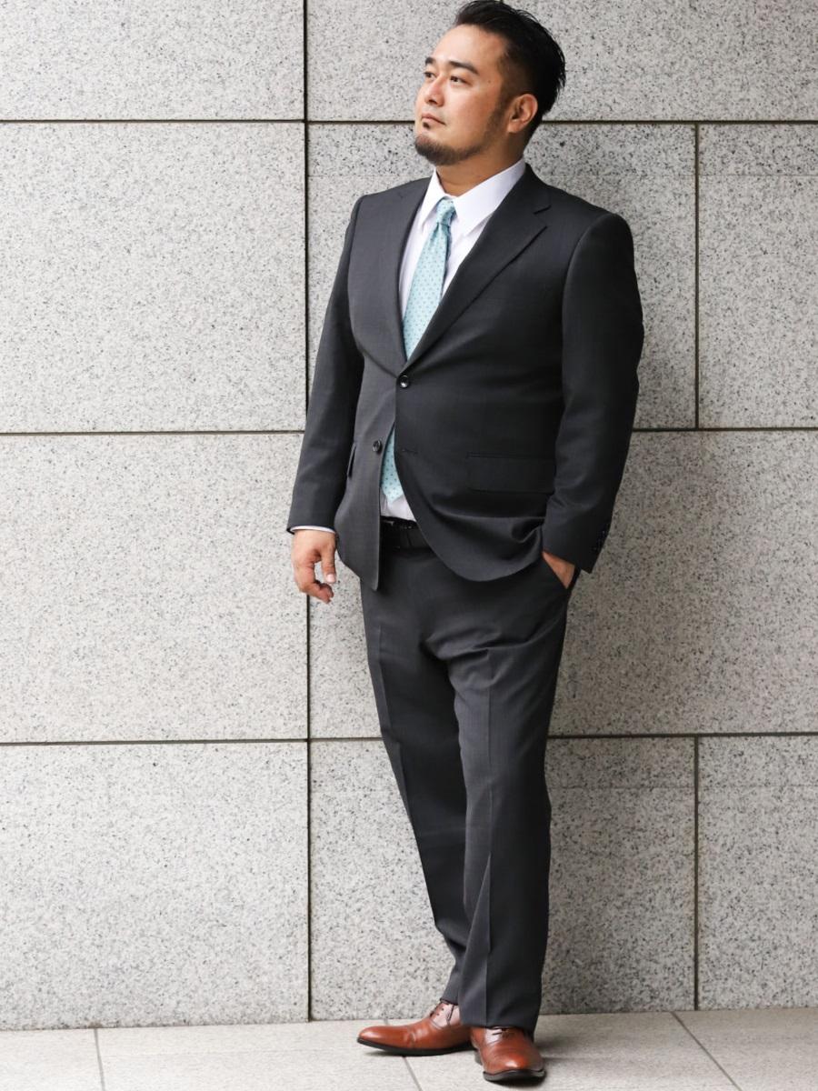 【大きいサイズ・メンズ】グランバック/GRAND-BACK 洗えるスラックス ピンチェックグレー 2ピーススーツ