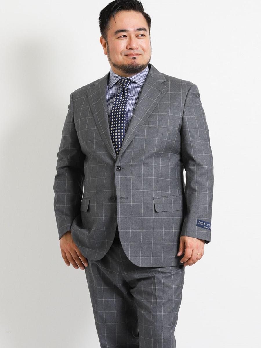 【大きいサイズ・メンズ】アレキサンダージュリアン/ALEXANDER JULIAN グアベロ/GUABELLO ウール100% SUPER130'S ウィンドペングレー 2ピーススーツ