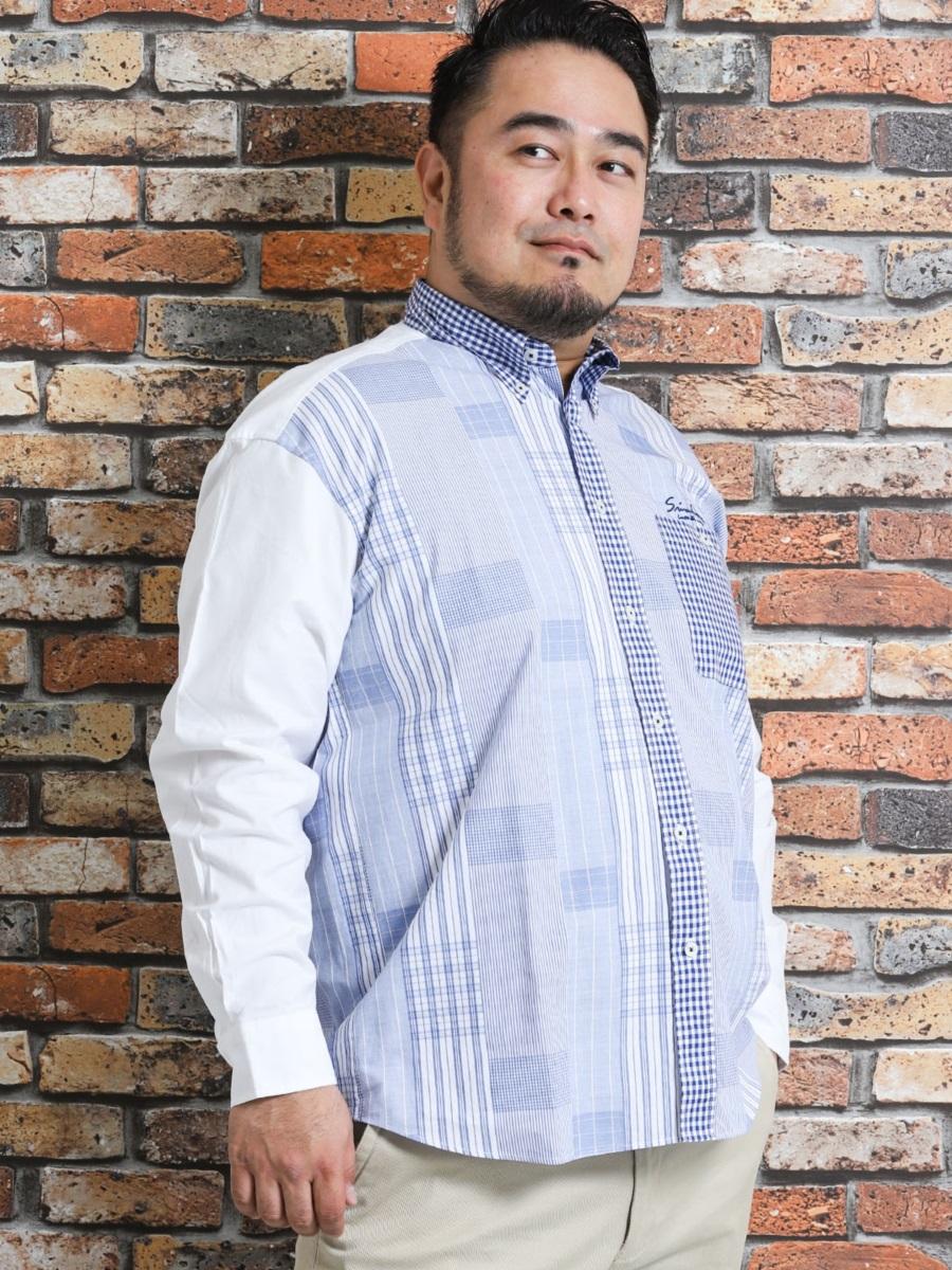 【大きいサイズ・メンズ】シナコバ/SINA COVA カットドビー切替ボタンダウン長袖シャツ