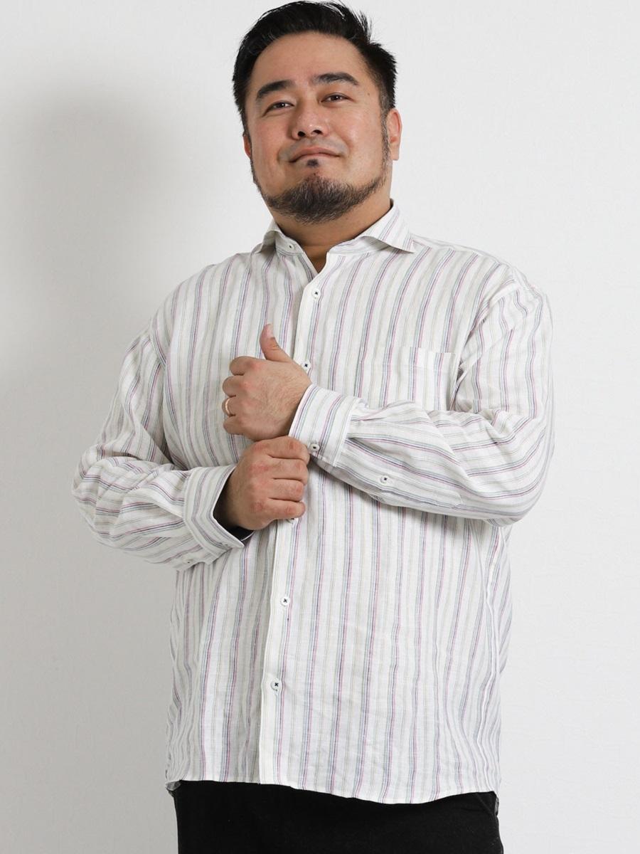 【大きいサイズ・メンズ】グランバック/GRAND-BACK リネンストライプ長袖カッタウェイシャツ