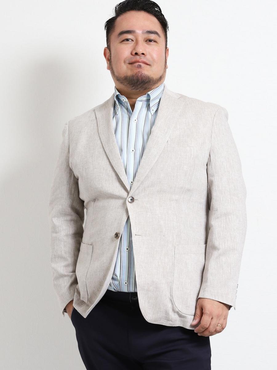 【大きいサイズ・メンズ】グランバック/GRAND-BACK 綿麻ヘリンボン 2釦シングルジャケット