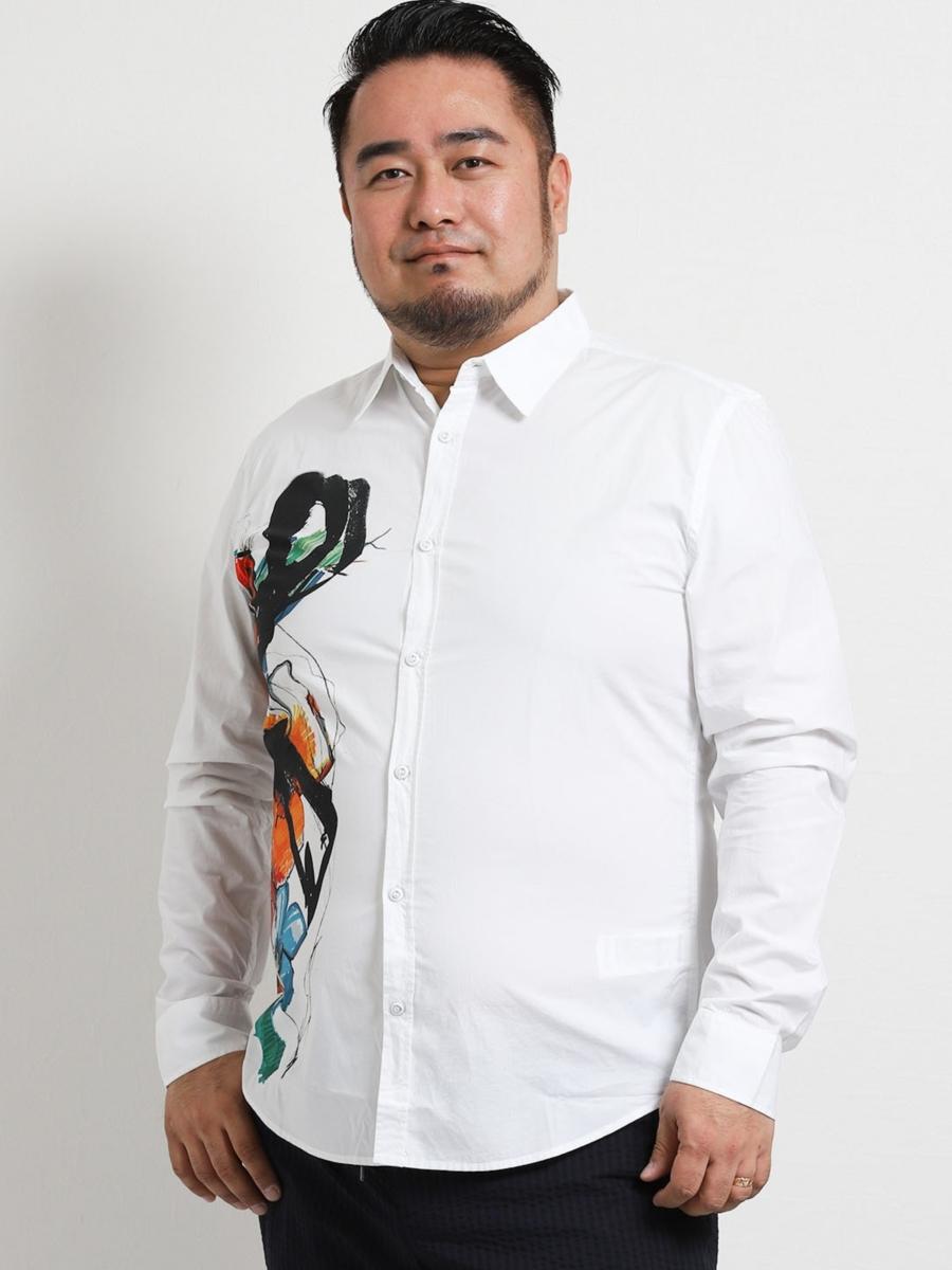 【大きいサイズ・メンズ】デシグアル/Desigual CAM CEDRIC 片胸プリント長袖シャツ