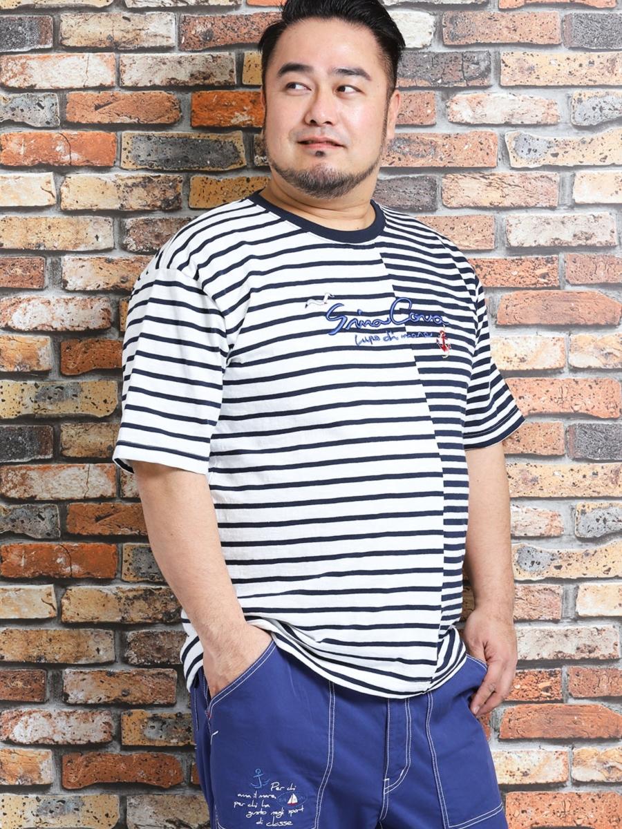 【大きいサイズ・メンズ】シナコバ/SINA COVA スラブ天竺ボーダー柄クルーネック半袖Tシャツ
