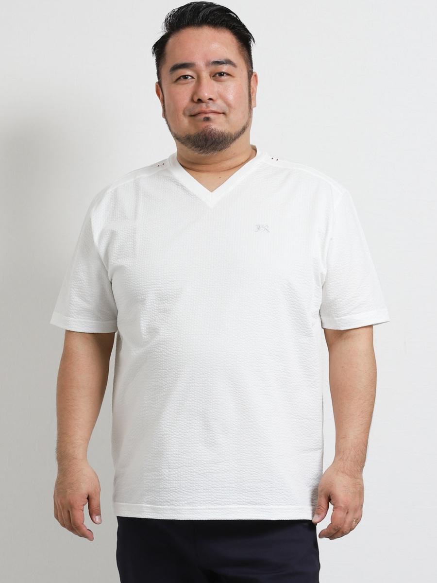 【大きいサイズ】バラシ ミラノ/barassi MILANO サッカーストライプVネック半袖Tシャツ
