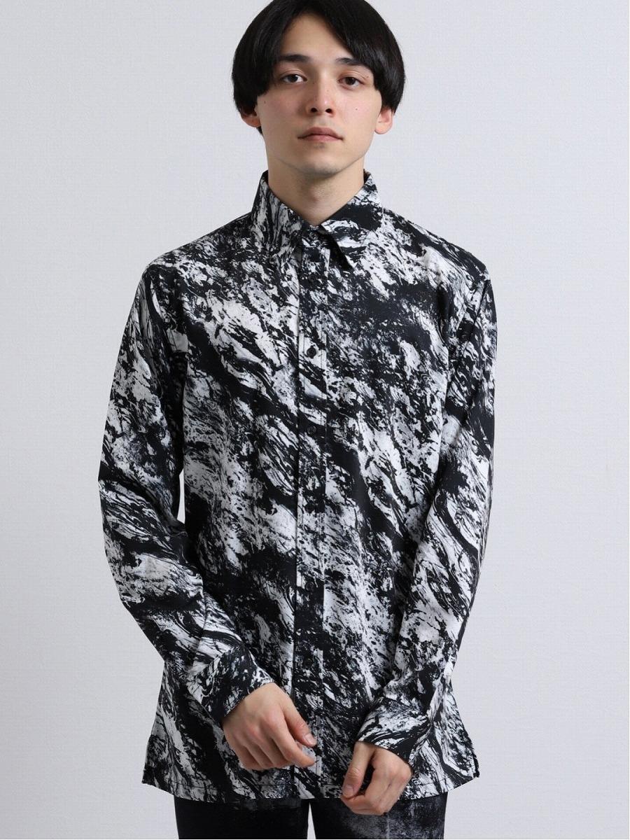 【メンズ】シェラック/SHELLAC 墨流しプリント長袖ロングシャツ