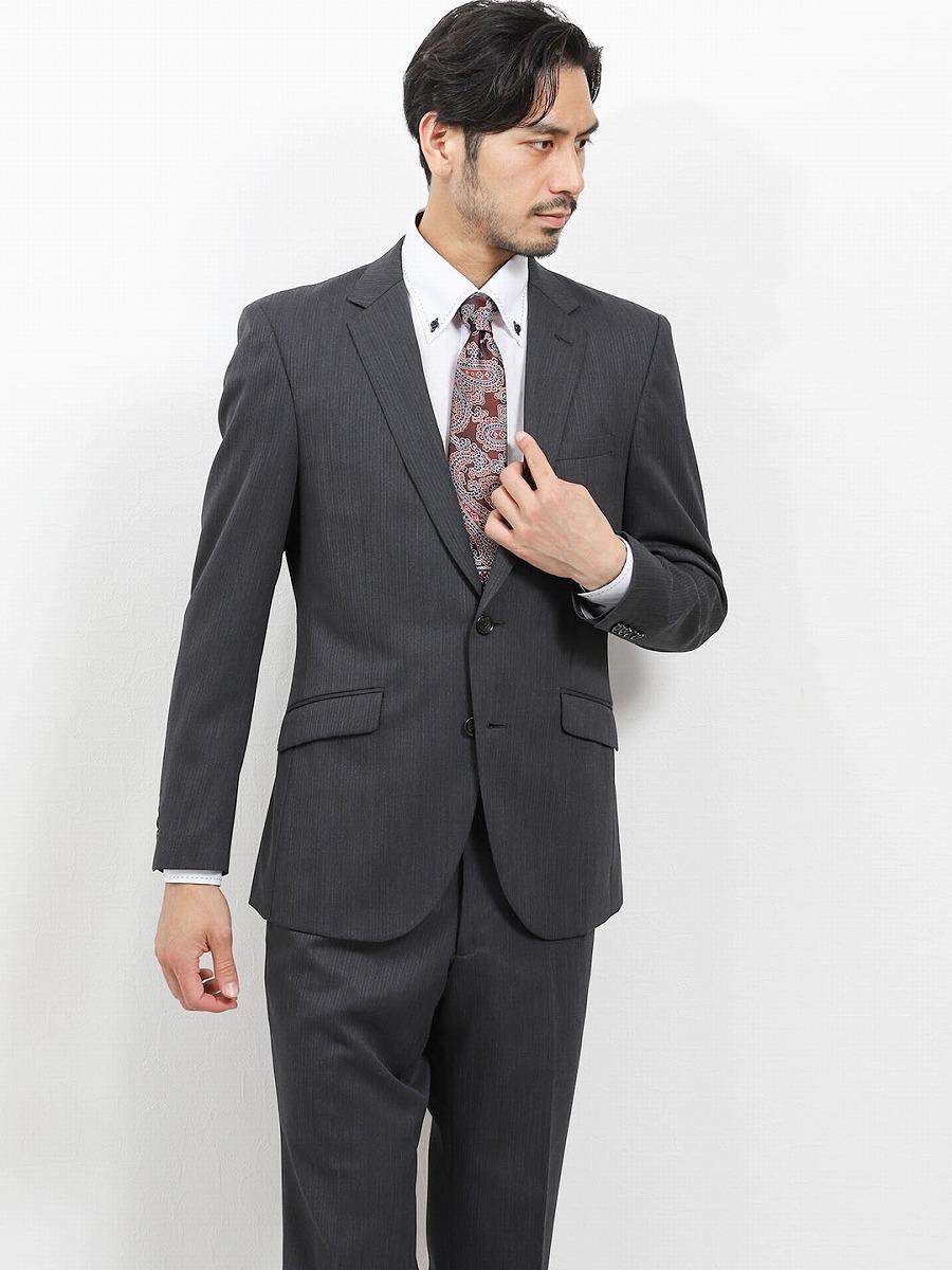 【メンズ】洗えるスラックス レギュラーフィット2ピーススーツ 組織グレー レギュラースタイルスーツ
