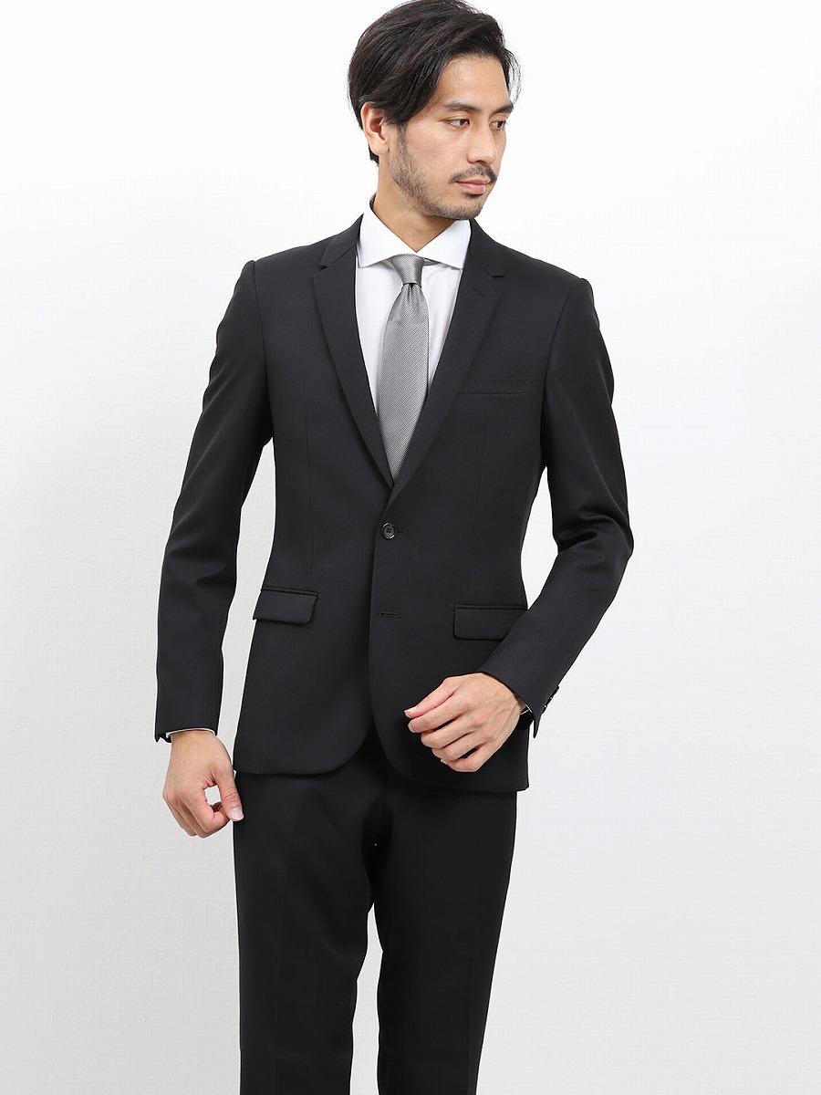 【メンズ】2WAYストレッチ洗えるスラックス スリムフィット2ピーススーツ シャドーストライプ黒 スリムスタイルスーツ