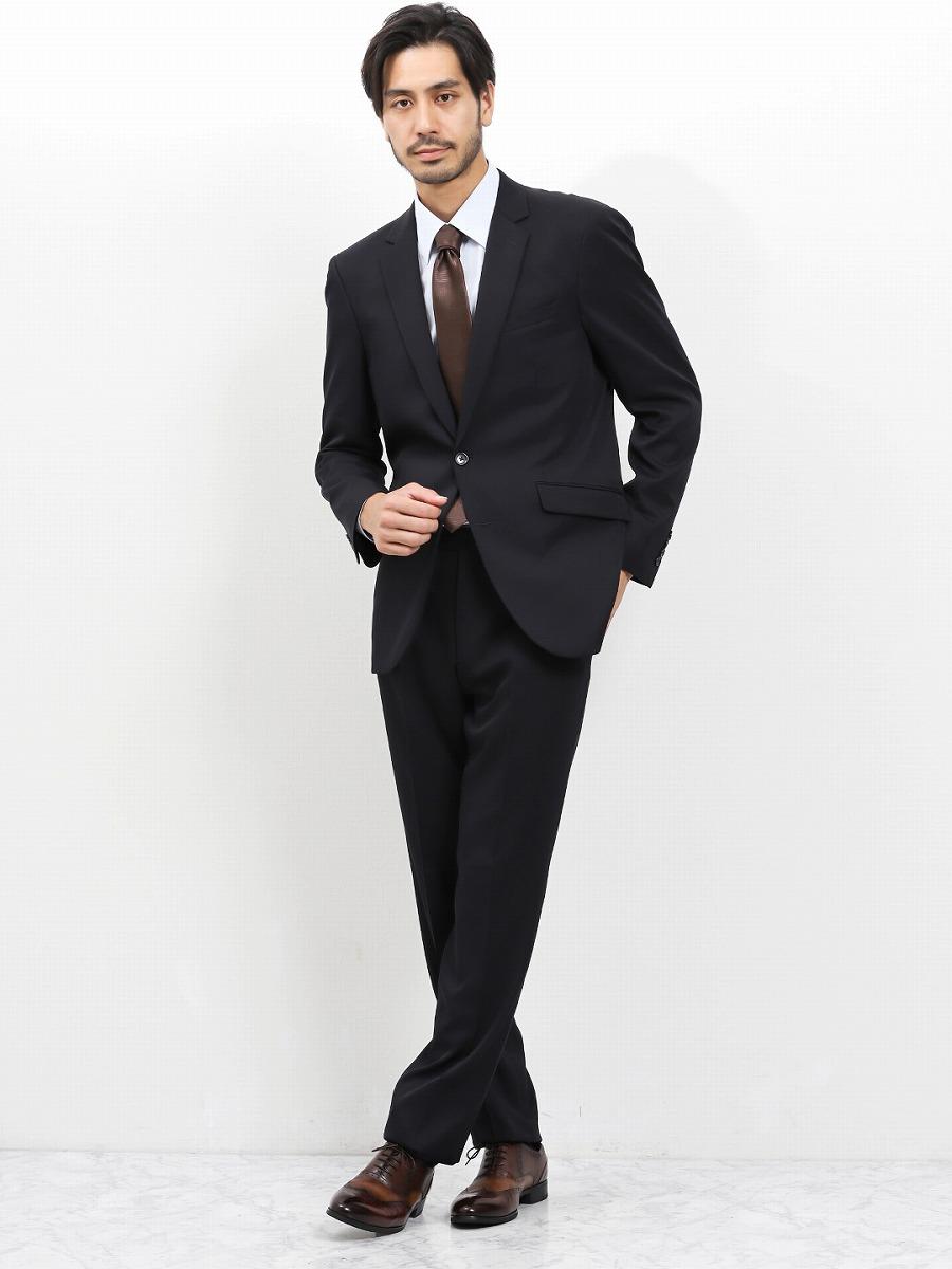 【メンズ】2WAYストレッチ洗えるスラックス レギュラーフィット2ピーススーツ シャドーチェック紺 レギュラースタイルスーツ
