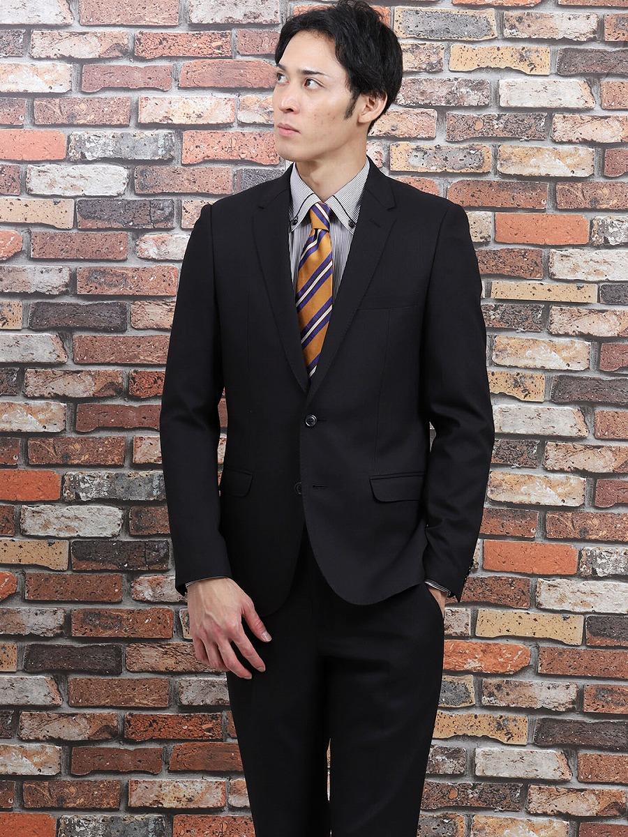 【メンズ】2WAYストレッチ洗えるスラックス スリムフィット2ピーススーツ シャドーストライプ 黒 スリムスタイルスーツ