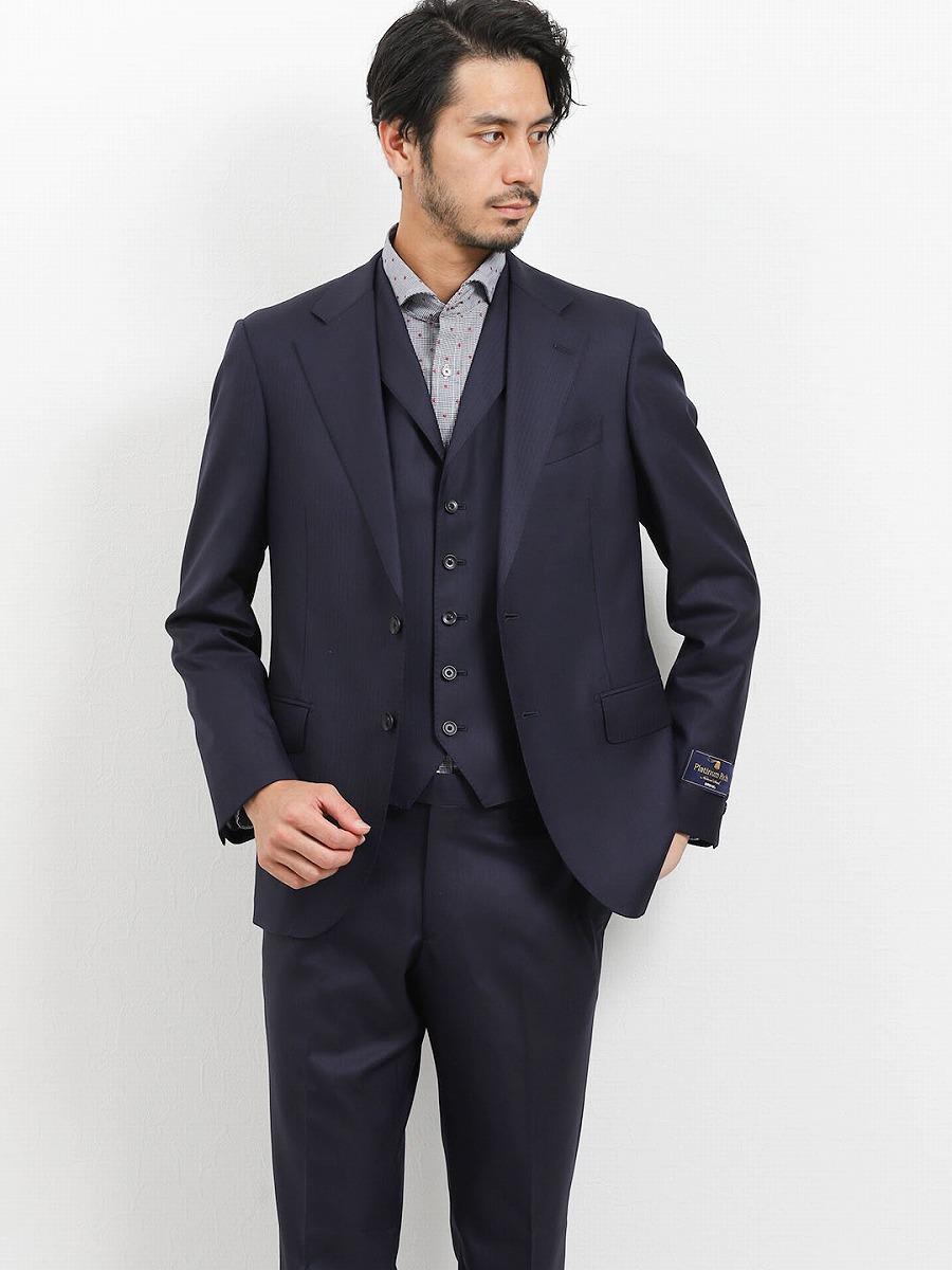 【メンズ】ウール100% SUPER140'S スリムフィット3ピーススーツ シャドーストライプ紺 スリムスタイルスーツ