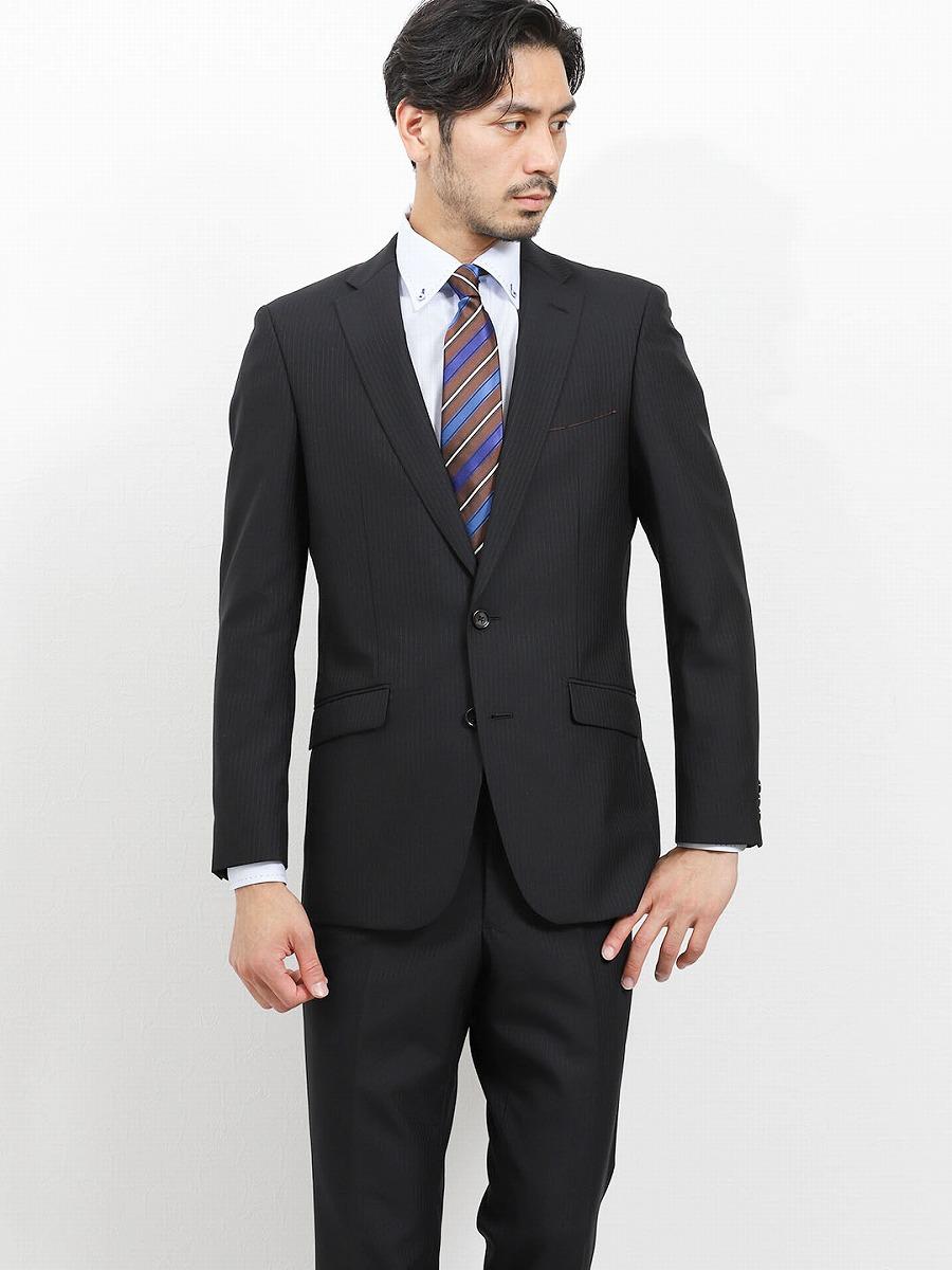 【メンズ】洗えるスラックス スリムフィット2ピーススーツ ストライプ黒 スリムスタイルスーツ