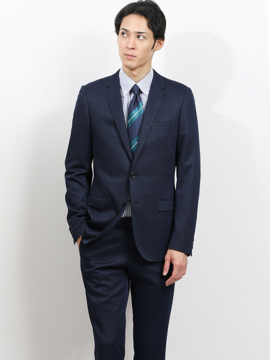 【メンズ】ストレッチニットジャージ スリムフィット2ピーススーツ ウィンドペン紺 スリムスタイルスーツ