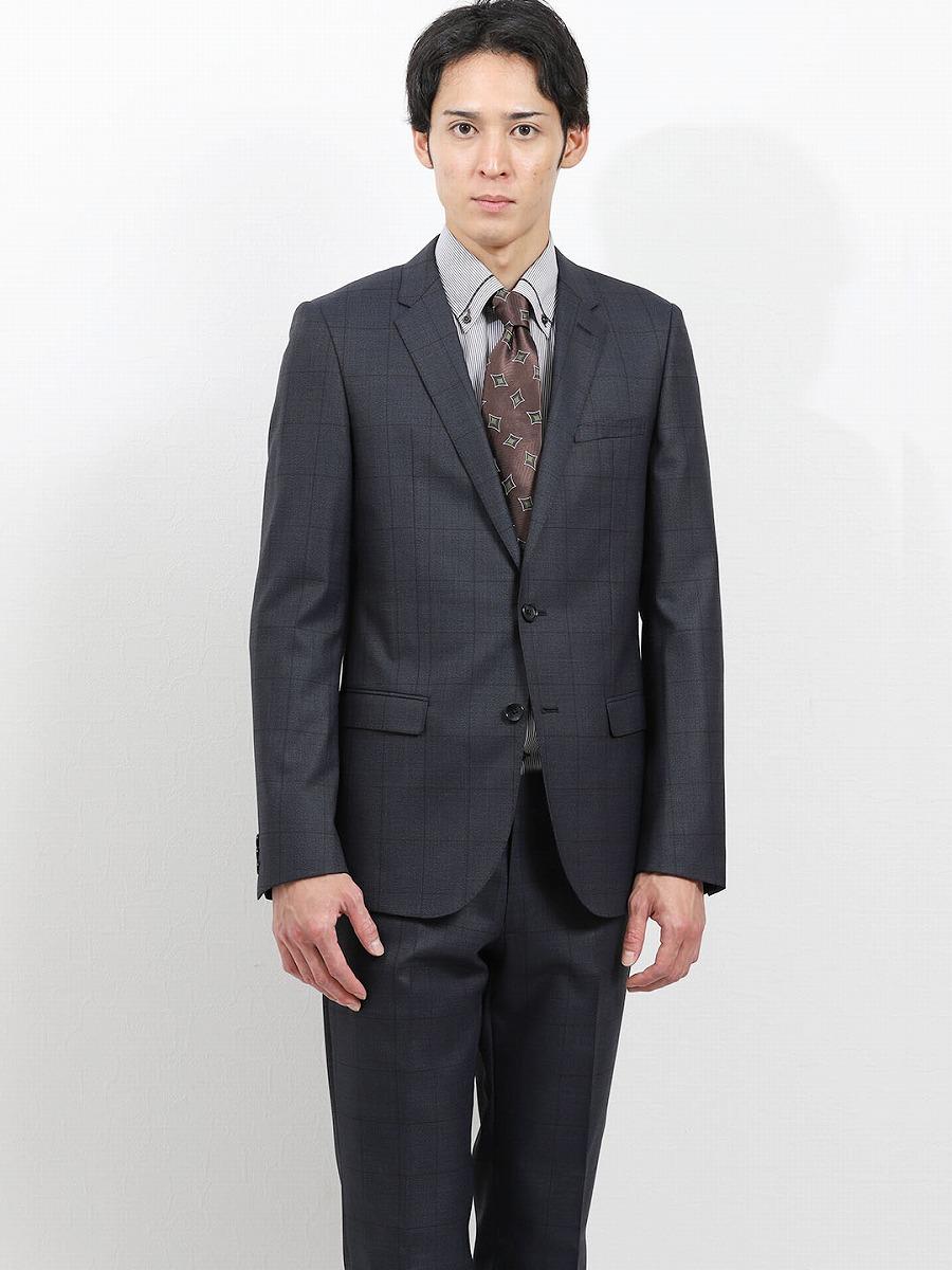 【メンズ】ストレッチ光沢ウール混 スリムフィット2ピーススーツ ウィンドペン紺 スリムスタイルスーツ