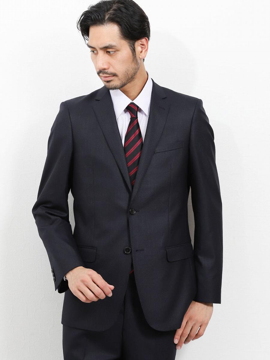 【メンズ】光沢ウール混 スリムフィット2ピーススーツ アムンゼンストライプ 紺 スリムスタイルスーツ