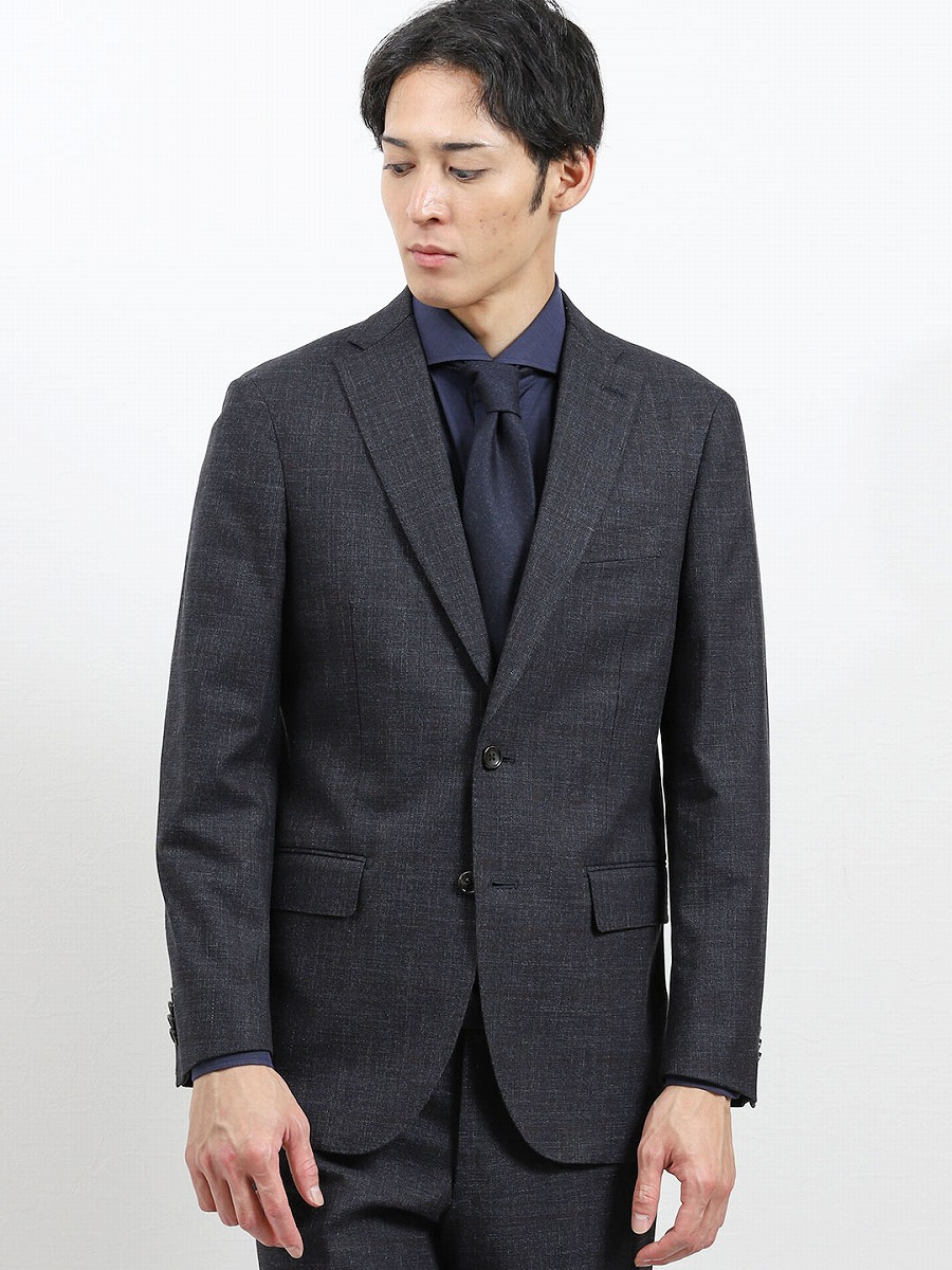 【メンズ】mf×AT ソンドリオ/SONDRIO セットアップ 2釦テーラードジャケット グレンチェック紺 セットアップジャケット