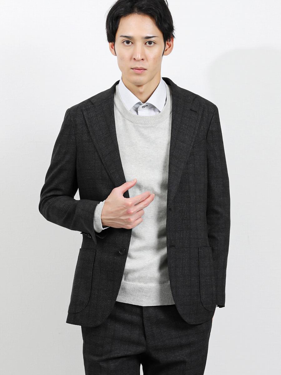 【メンズ】国産尾州ストレッチ セットアップ 2釦テーラードジャケット チェックグレー セットアップジャケット