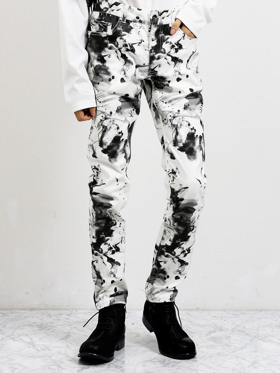 【メンズ】シェラック/SHELLAC ストレッチ ドリップ柄5ポケットスキニーパンツ その他パンツ