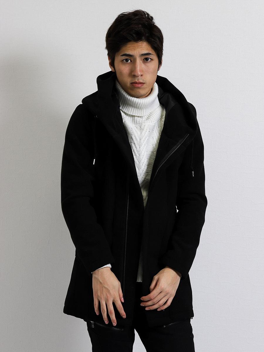 【メンズ】メルトンボリュームネックコート