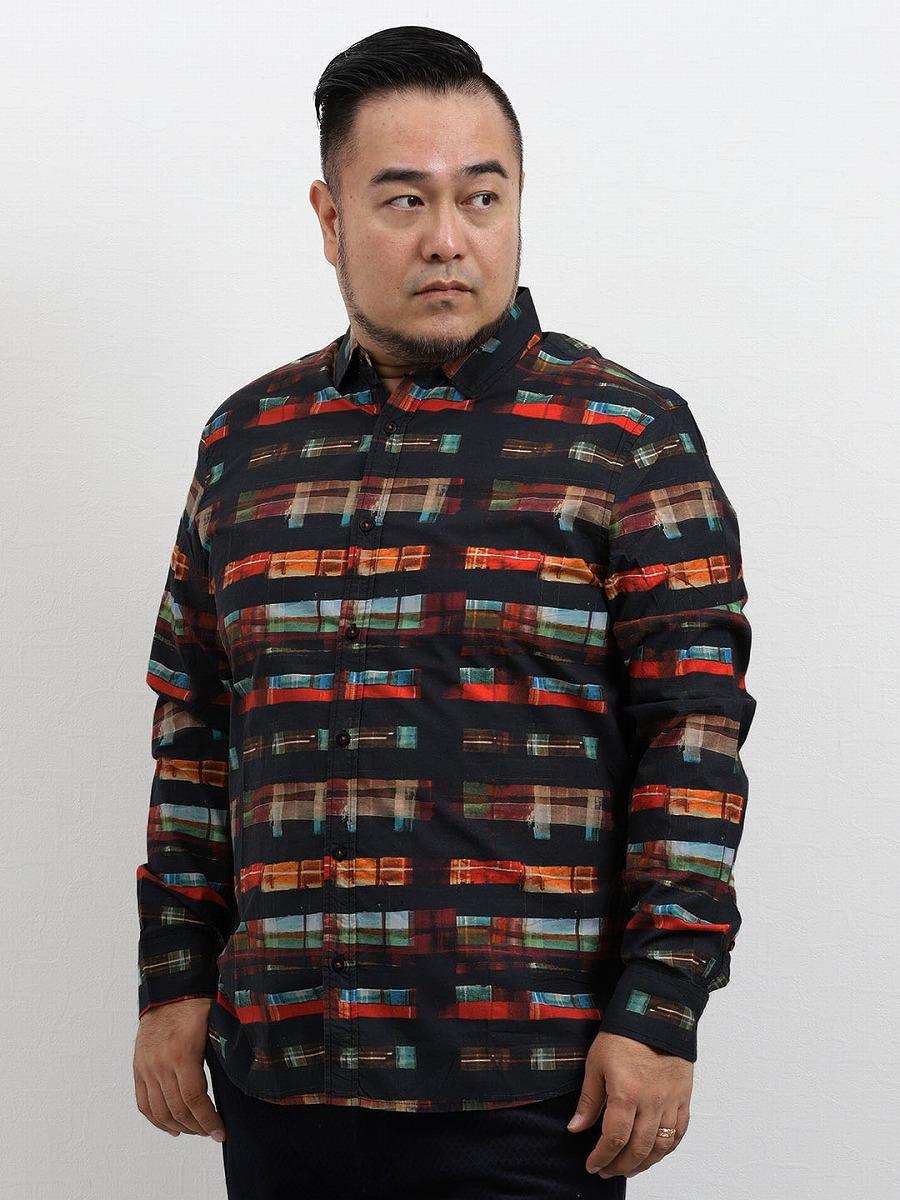 【大きいサイズ・メンズ】デシグアル/Desigual デザインチェック長袖シャツ  グランバック 大きいサイズ