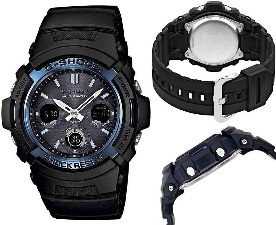 送料込 CASIO カシオ G-SHOCK Gショック 電波 ソーラー AWG-M100A-1A アナデジ 腕時計 スタンダードモデル ブラック×ブルー メンズ腕時計 メンズウォッチ 並行輸入品