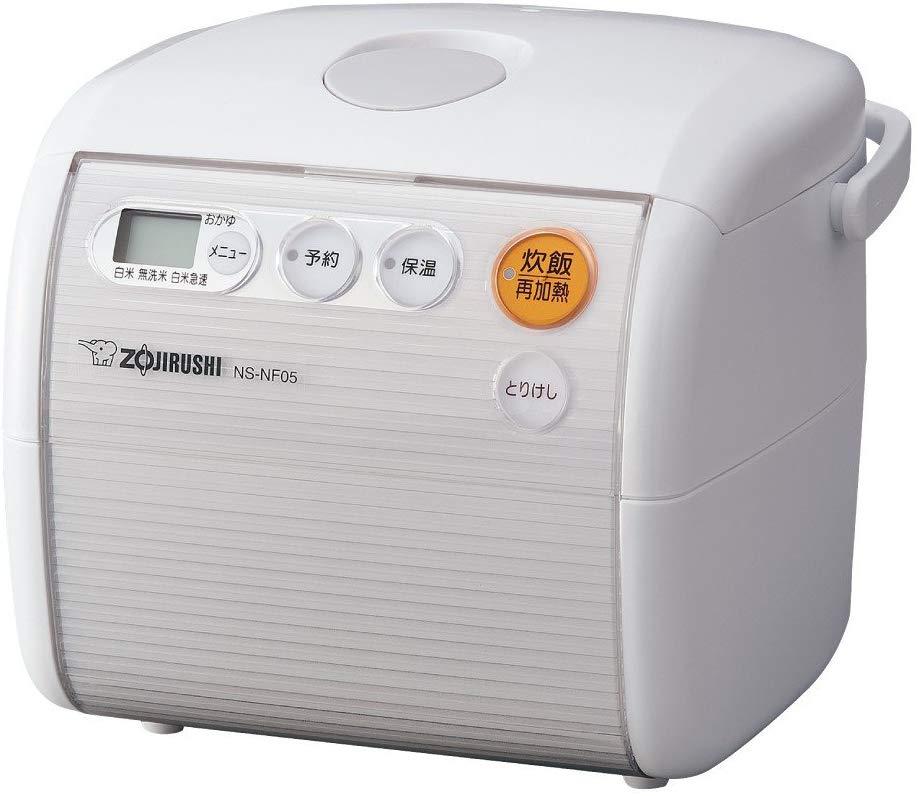 象印 ZOJIRUSHI マイコン炊飯ジャー 極め炊き NS-NF05-WA ホワイト 3合炊き 再加熱 デジタル液晶 炊飯器