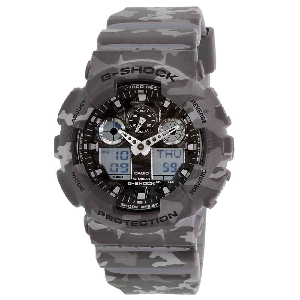 送料込 CASIO カシオ G-SHOCK Gショック カモフラージュシリーズ GA-100CM-8A グレー アナデジ メンズ腕時計 メンズウォッチ レディース腕時計 並行輸入品 カモフラ