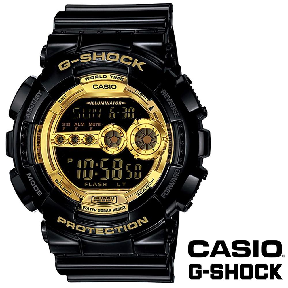 送料込 CASIO カシオ G-SHOCK Gショック GD-100GB-1 腕時計 Black×Gold ブラック×ゴールド LEDバックライト付き 海外モデル メンズ腕時計 メンズウォッチ 並行輸入品 誕生日 記念日 プレゼント