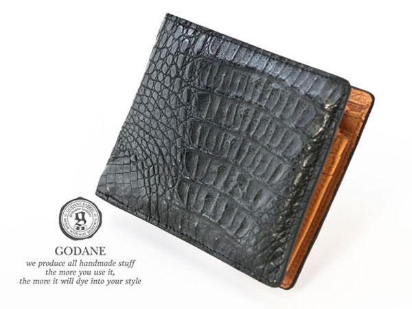 ゴダン 財布 GODANE メンズ 二つ折り 薄い ビジネス かっこいい おしゃれ レザーウォレット ミニ カイマン クロコダイル 短財布 折財布 spcw8007cpbk ブラック 黒 ワニ革 メンズ財布  誕生日 ブランド ウォレット