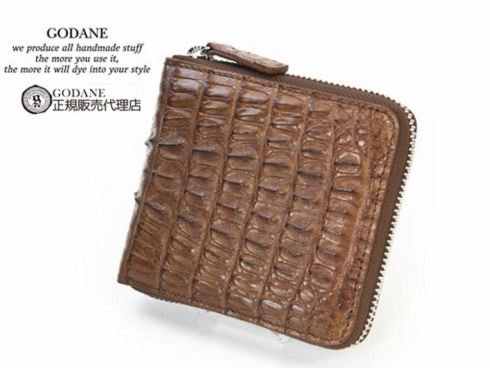 ゴダン 財布 GODANE メンズ 二つ折り ファスナー 薄い ワニ革 ラウンドファスナー ウォレット ミニ カイマンクロコダイル短財布 折財布 spcw8002cpbr プレゼント ブラウン 茶色 ワニ革財布 ウォレット
