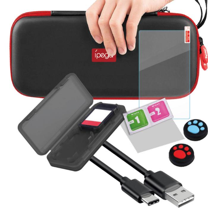 Switch Lite 保護 持ち運び キット 9点セット 9個セット 9in1 エッセンシャルキット キャリーバッグ カードケース クリーニング パック 充電ケーブル ガラスフィルム 保護フィルム カードケース