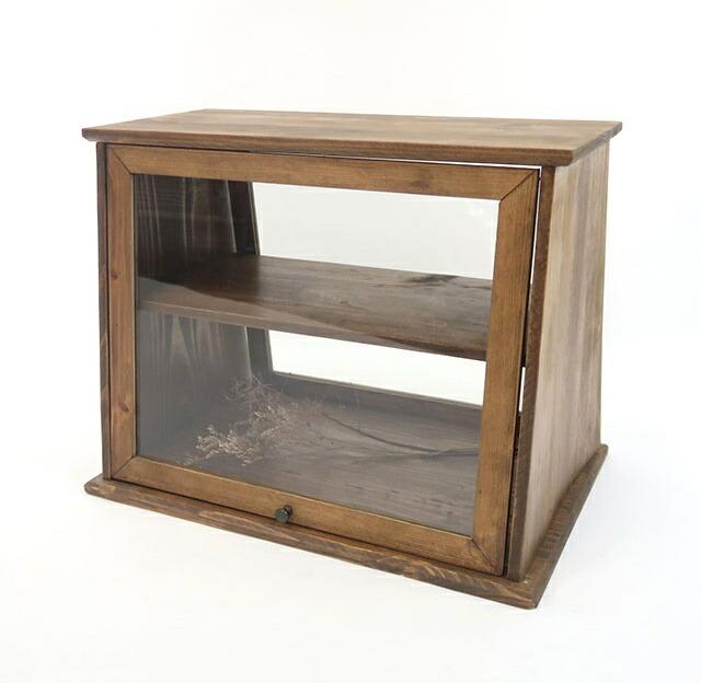 オープンキャビネット キャビネット 木製 ガラス 両面開き おしゃれ アンティーク レトロ 家具 収納家具 インテリア【送料無料】