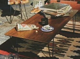 アーロン コーヒーテーブル おしゃれ テーブル ローテーブル リビングテーブル 木製 スチール シンプル インテリア【送料無料】