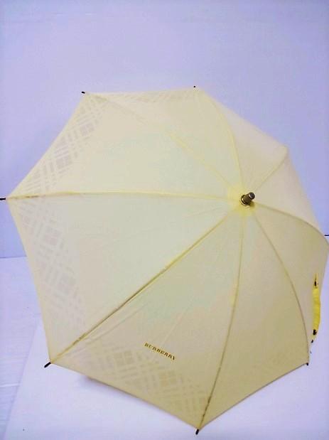 バーバリー BURBERRY 透かしチェック柄縁取り ロゴ入り UV 晴雨兼用 婦人傘プチパラ 日本製(レモンイエロー) 日傘