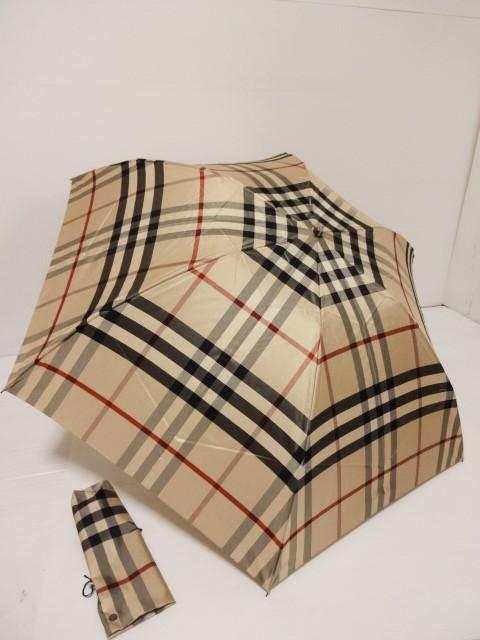バーバリー BURBERRY 総ノバチェック柄 紳士折り畳み傘 日本製 (ベージュ)