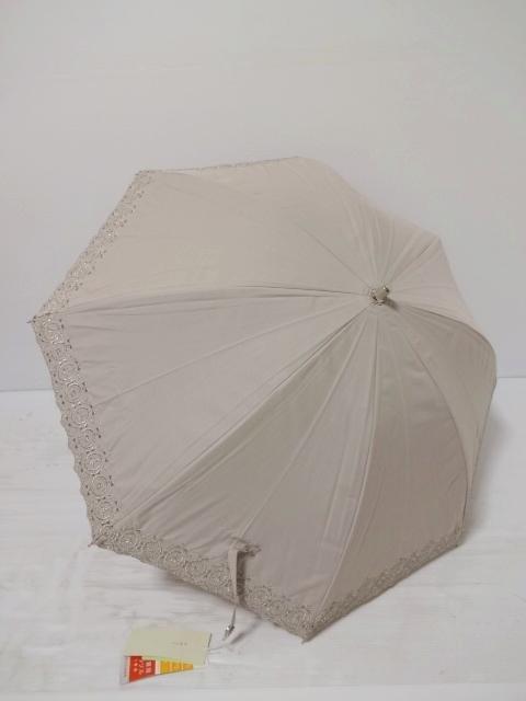 ANTEPRIMA アンテプリマ バレリーナ柄 スカラップ刺繡 フィオーリ UV 遮光生地使用 晴雨兼用 婦人傘プチグラン(日傘)グレージュ