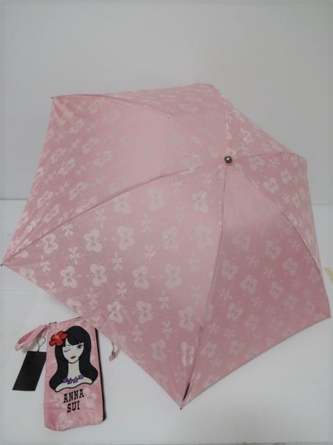 アナスイ ANNA SUI 女性顔デザイン収納袋 蝶柄&ロゴタグ付き 婦人折り畳み傘 (ピンク)