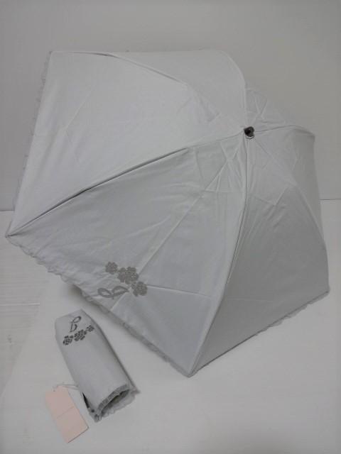 ジルスチュアート JILLSTUART J・花レース刺繍 ロゴ入り 晴雨兼用 遮光生地使用 婦人折り畳み日傘(グレージュ)