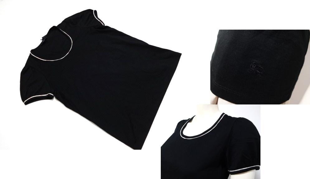 バーバリー ロンドン BURBERRY LONDON 縁取り淡色チェック柄ホースマーク刺繍付き半袖Tシャツ 黒 2 11号nN0mOv8w