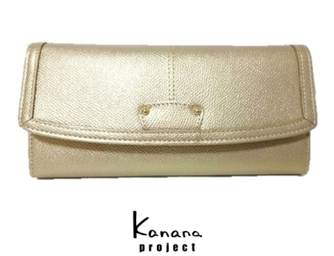 カナナプロジェクト Kanana project「フレームウォレット」L字ファスナー小銭入れ外付け仕様かぶせ長財布*牛革*ゴールド