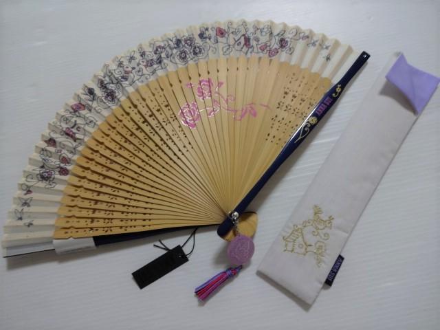 アナスイ ANNA SUI お花・鳥 ロゴ入り 扇子&ケースセット (アイボリー)