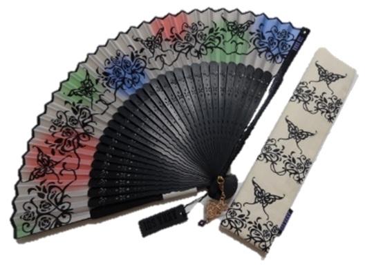 アナスイ ANNASUI 蝶(バタフライ)&花柄ロゴ入り 扇子&ケースセット (アイボリー系)