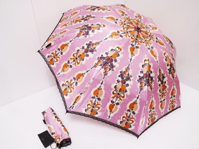 アナスイ ANNASUI リボン柄 レース縁取り ロゴ入り 婦人折り畳み傘 (ピンク)日本製