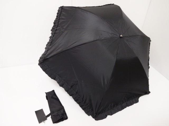 アナスイ ANNASUI おしゃれなフリル ロゴタグ付き 婦人折り畳み傘 (黒)
