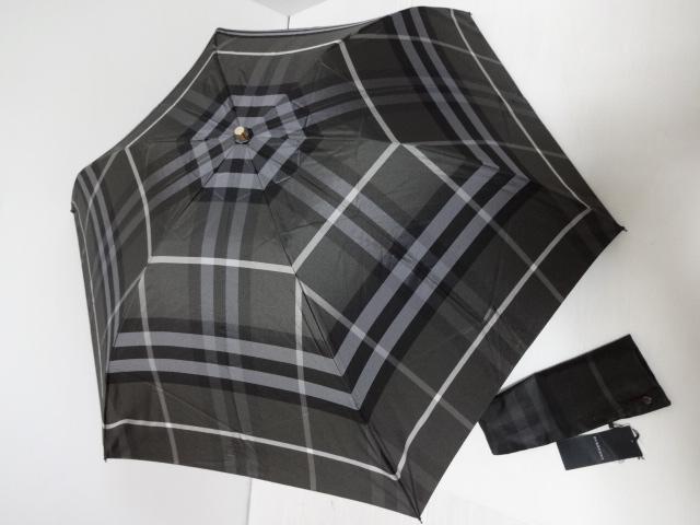 バーバリー BURBERRY 総チェック柄 ロゴ入り 紳士折り畳み傘 日本製 (ダークグレイ)