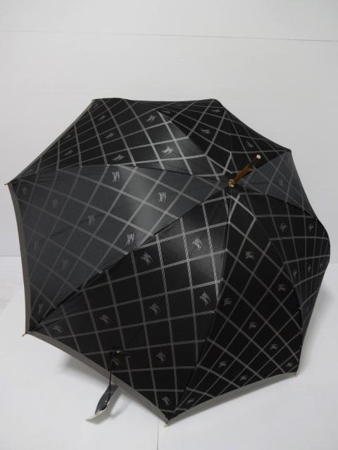 バーバリー BURBERRY ホースマーク&チェック柄 婦人長傘 日本製 (黒×グレイ)