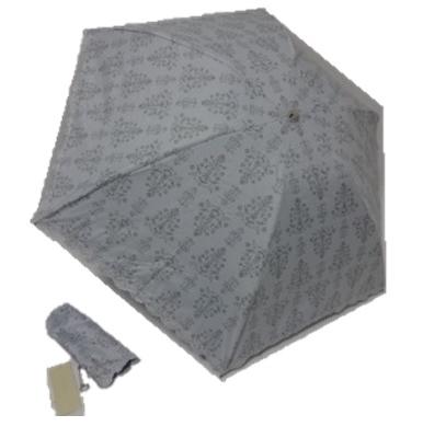 アンテプリマ ANTEPRIMA 花柄・刺繍縁取り ロゴチャーム 遮光生地使用 晴雨兼用 婦人折り畳み傘 (水色系)