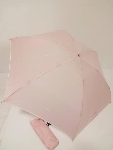 バーバリー BURBERRY シャドーチェック柄ホースマーク刺繍入り UV 婦人折り畳み日傘 日本製 (ピンク)