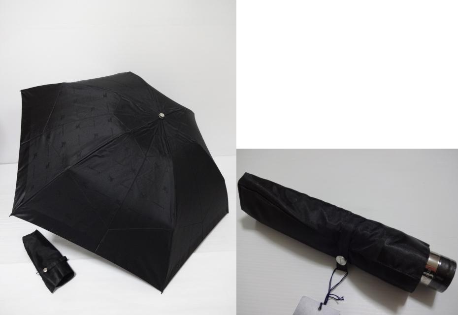 バーバリー BURBERRY ホースマーク柄&BURBERRYロゴ地模様 婦人折り畳み傘 日本製 (黒)