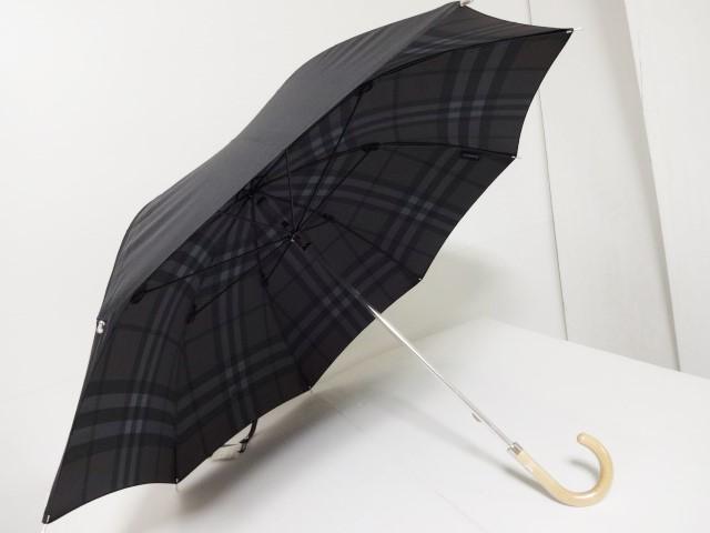 バーバリー BURBERRY 内側チェック柄 ロゴ UV 婦人日傘 日本製 (黒系)
