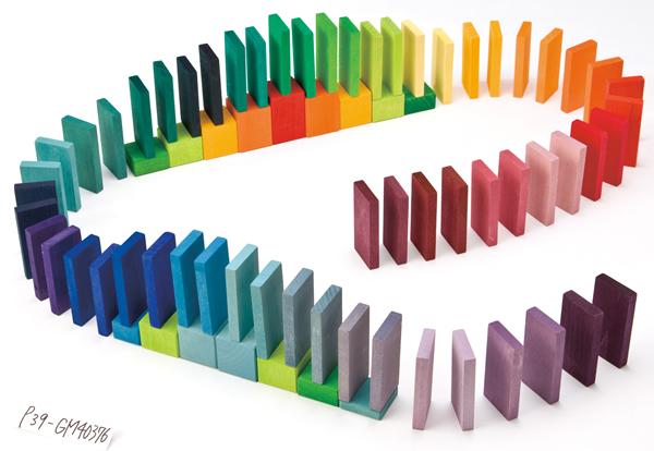 にじドミノ グリムス社 Grimm'S ドミノ 積木 ブロック ドミノ倒し 【02P18Jun16】 木のおもちゃ 3歳 4歳 誕生日 カラーチャートブロック